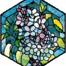 Lilacs in Stained Glass Cross Stitch Pattern Chart Graphs