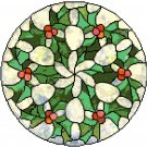 Mistletoe and Holly in Stained Glass Cross Stitch Pattern Chart Graph