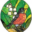 Robin Red Breast in Stained Glass Cross Stitch Pattern Chart Graph