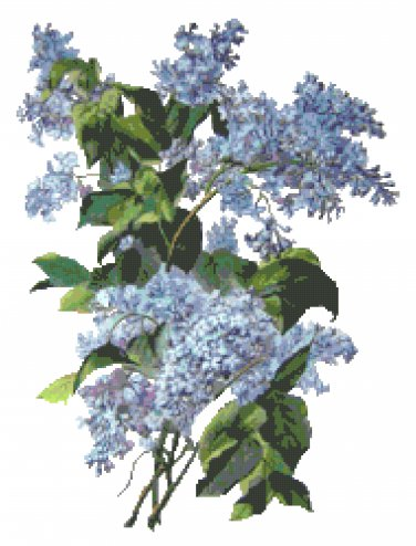 Blue French Lilacs Cross Stitch Pattern Chart Graph