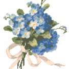 Tussie Mussie Forget-Me_Nots Cross Stitch Pattern Chart Graph