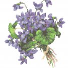Tussie Mussie Purple Violets Cross Stitch Pattern Chart Graph