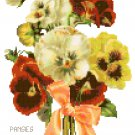 Tussie Mussie Pansies Cross Stitch Pattern Chart Graph