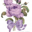 Tussie Mussie Lavender Roses Cross Stitch Pattern Chart Graph