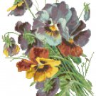 Blue Pansies Cross Stitch Pattern Chart Graph
