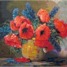 Poppies and Larkspur by Max Streckenbach Cross Stitch Pattern Chart Graph