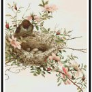 Bird Nest on Wildroses Branch Cross Stitch Pattern Chart Graph