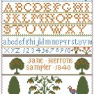 Jane Herrons Samper Reproduction - 1840 Cross Stitch Pattern Chart Graph