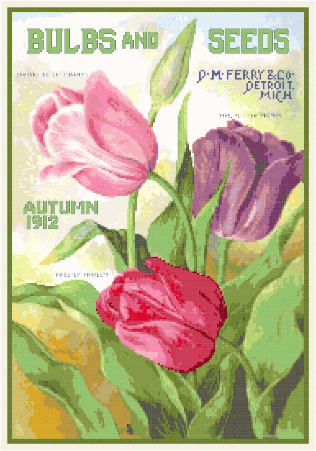 Vintage Seed Catalog 1912 Magazine Cover Cross Stitch Pattern Chart Graph