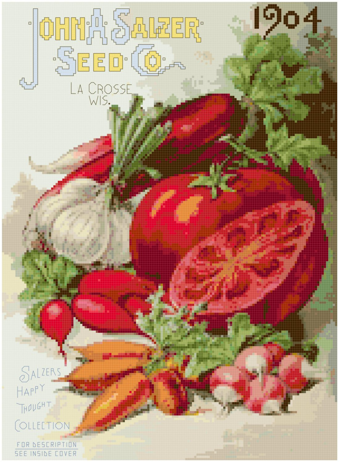 Vintage Seed Catalog 1904 Magazine Cover Cross Stitch Pattern Chart Graph