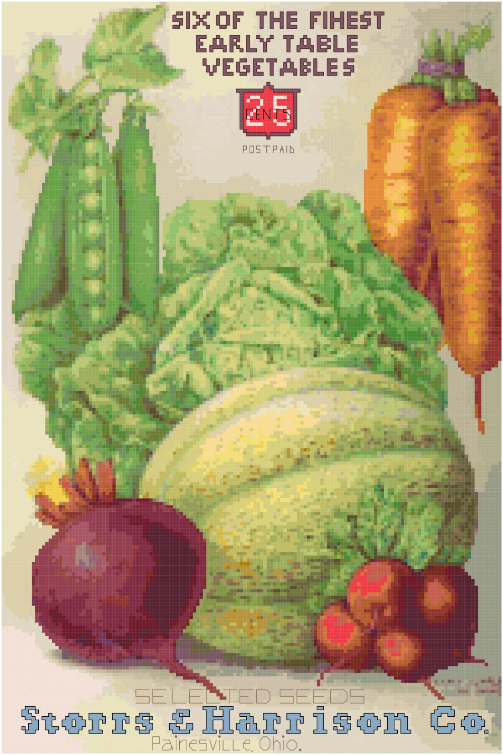 Vintage Seed Catalog ca. 1906 Magazine Cover Cross Stitch Pattern Chart Graph