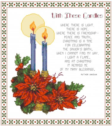 With These Candles Counted Cross Stitch Pattern Chart Graph