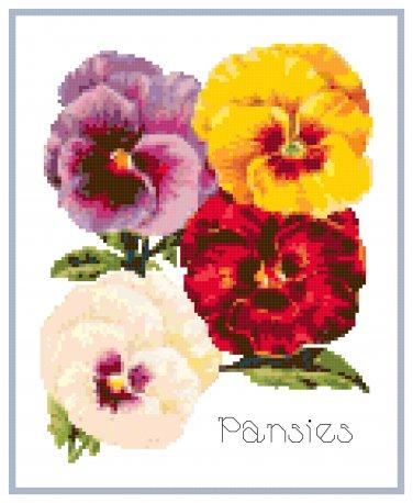 Pert Little Pansies Cross Stitch Pattern Chart Graph