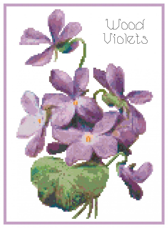 Wood Violets Cross Stitch Pattern Chart Graph
