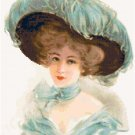 Beautiful Lady in a Blue Feather Hat Pattern Chart Graph