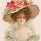 Beautiful Lady in a Roses Hat Pattern Chart Graph