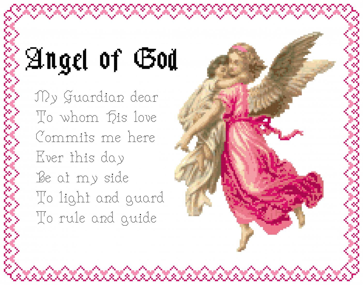 Girl's Angel of God Prayer Pattern Chart Graph