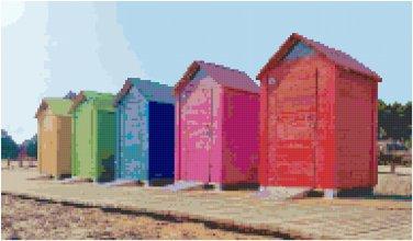 Colorful Beach Huts Pattern Chart Graph