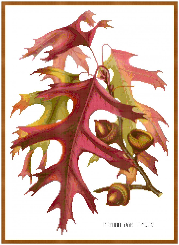 Autumn Oak Leaves Patter Chart Graph