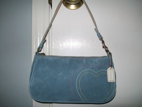 COACH Suede Demi Purse - Baby Blue with Embroidered Hearts