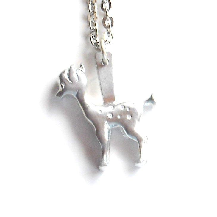 Jorgen Jensen Pewter Vintage Danish Bambi fawn Design Necklace