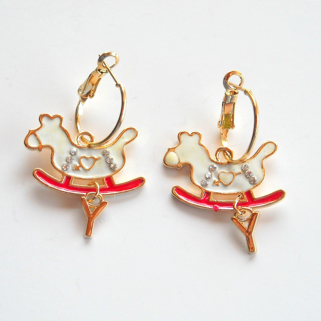 Rocking Horse with letter Y Gold color Metal Dangle French Lock Fashion Earrings