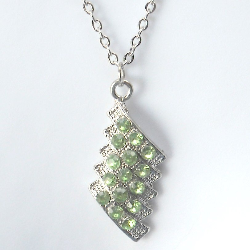 Rhinestone Green Cluster Stone Faceted Trapezoid Shape Necklace