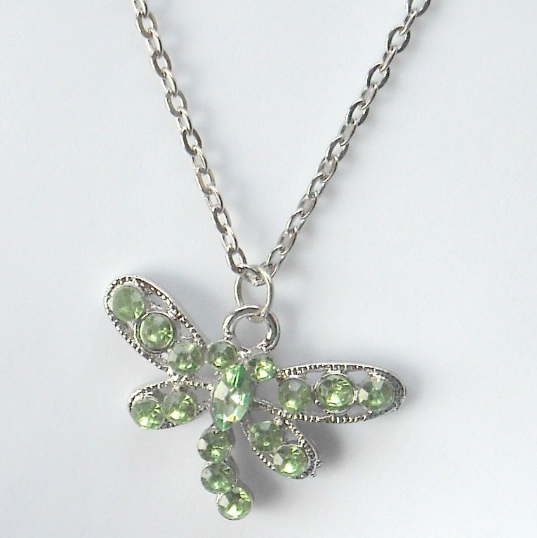 Rhinestone Green Multi Stone Faceted Butterfly Fashion Necklace