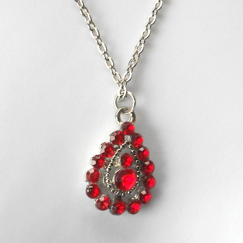 Rhinestone Ruby Red Multi Stone Faceted Drop Fashion Necklace