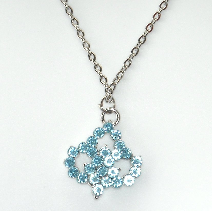 Rhinestone Blue Multi Stone Faceted Flower Fashion Necklace