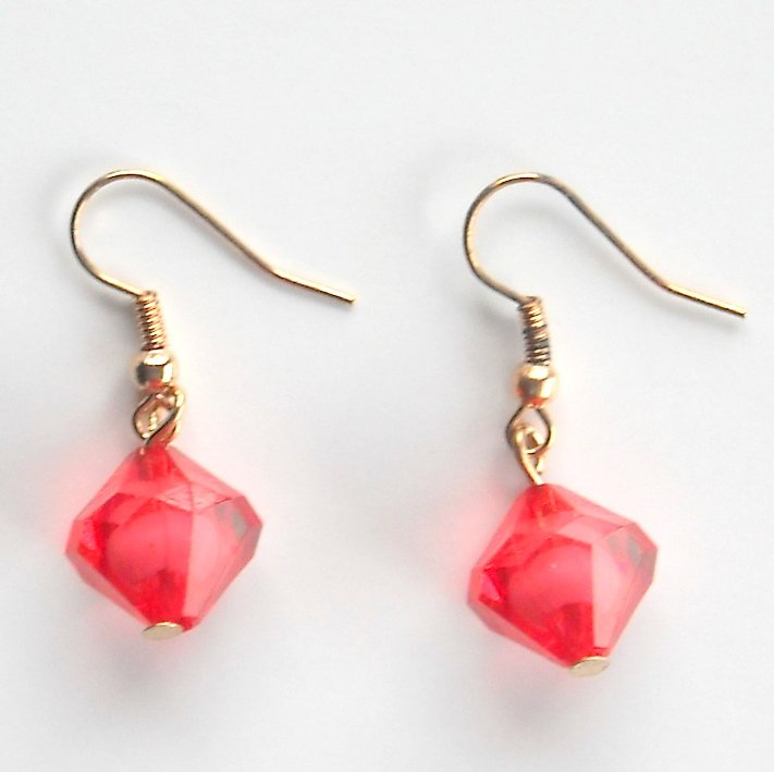 Multi Sides Red Dice Acrylic Dangle Fashion Earrings