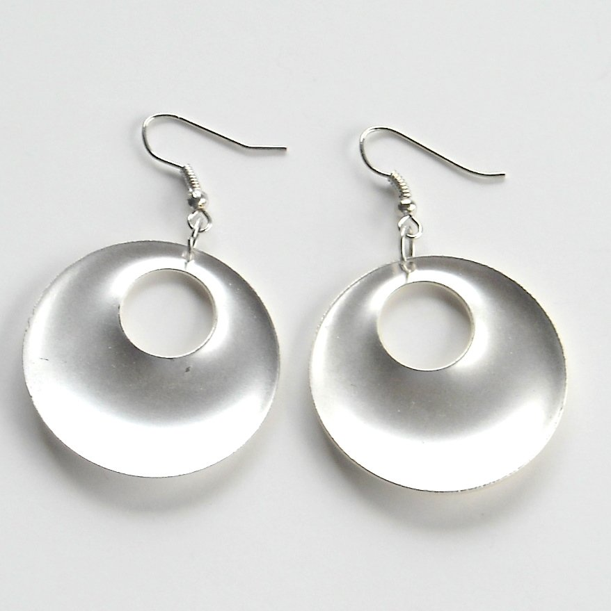 Large Round Matt Distressed Silver color Metal Dangle Fashion Earrings