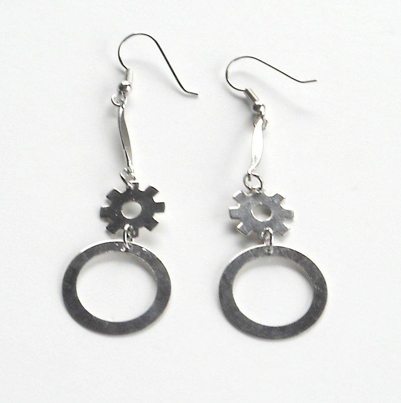 Silver color Cam Wheel Metal Dangle Fashion Earrings