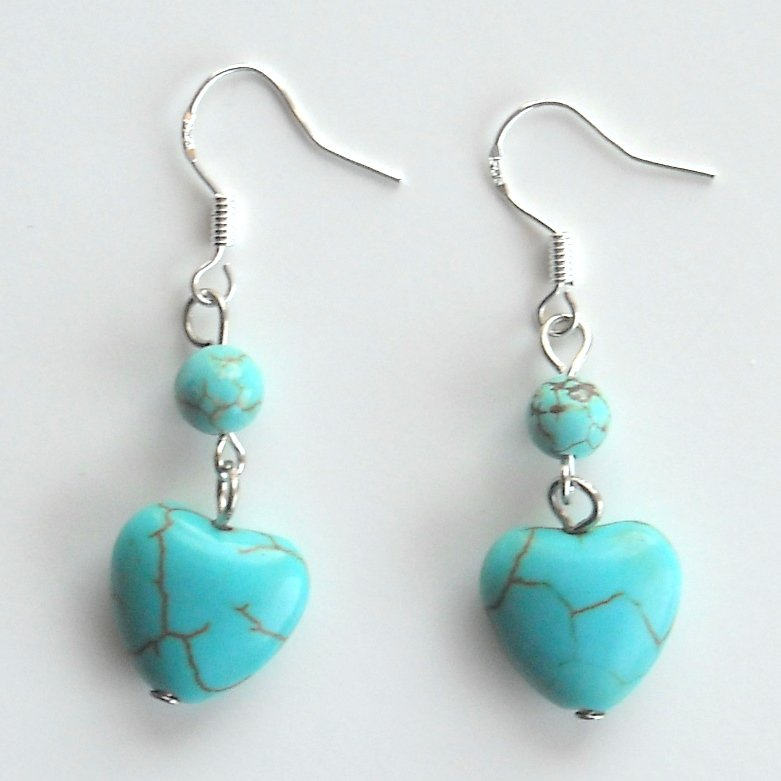 Turquoise Heart and Beaded Shaped Dangle 925 Silver Fashion Earrings