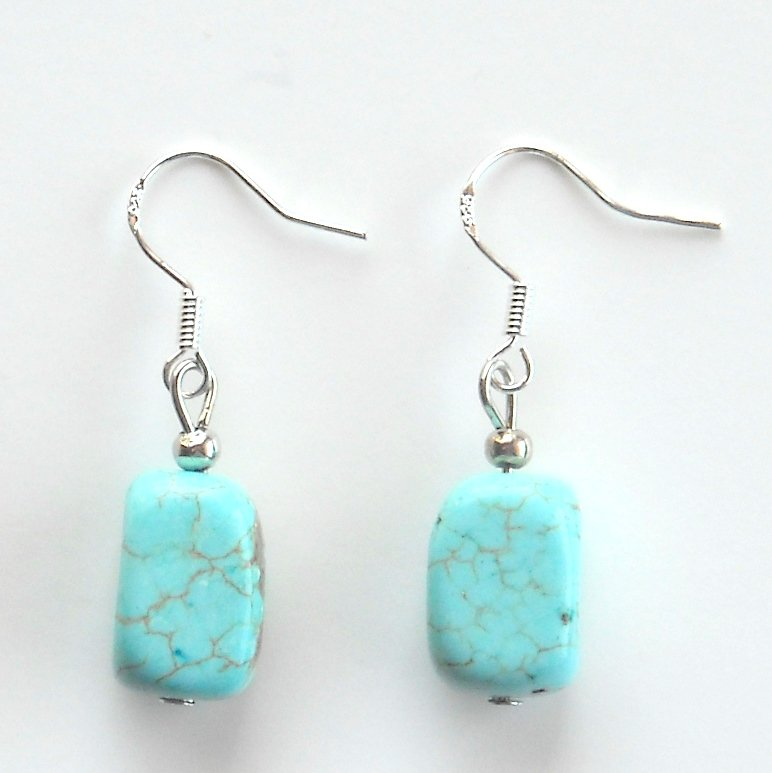 Turquoise Box Shaped Dangle 925 Silver Fashion Earrings