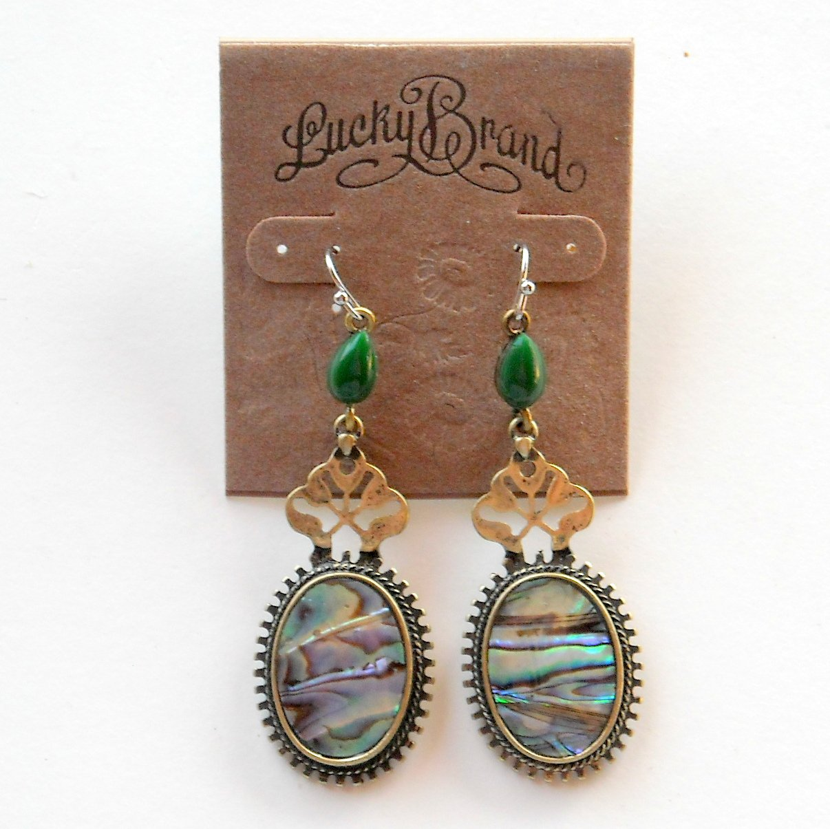 Abalone Brass Color Lucky Brand Dangle Drop earrings