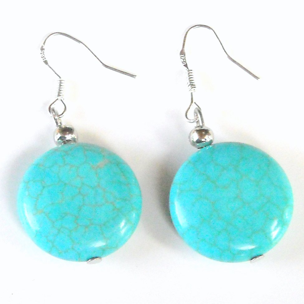 Turquoise 20 mm Flat Round Drops Dangle 925 Silver Fashion Earrings