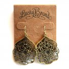 Thai Butterfly Lucky Brand Gold Tone Openwork Dangle Drop Earrings