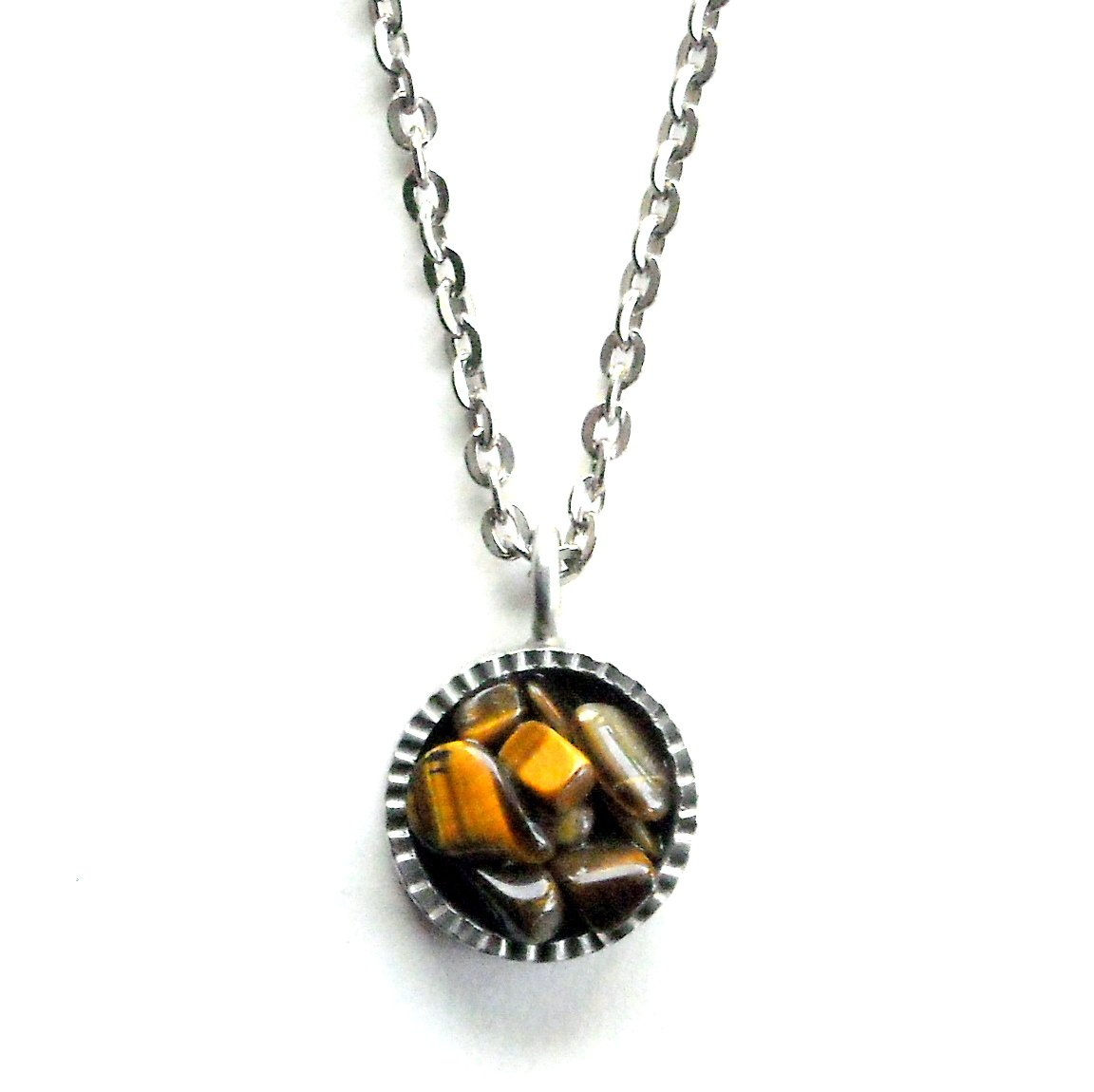 Vintage Jorgen Jensen Pewter Denmark Round Golden Stone Necklace