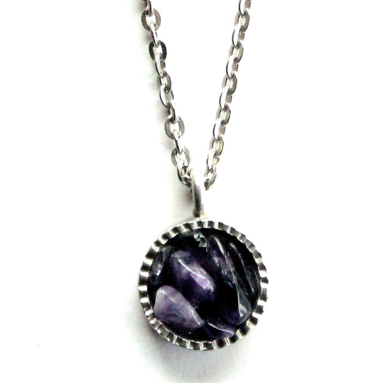 Danish Jorgen Jensen Pewter Denmark Round Purple Stone Necklace