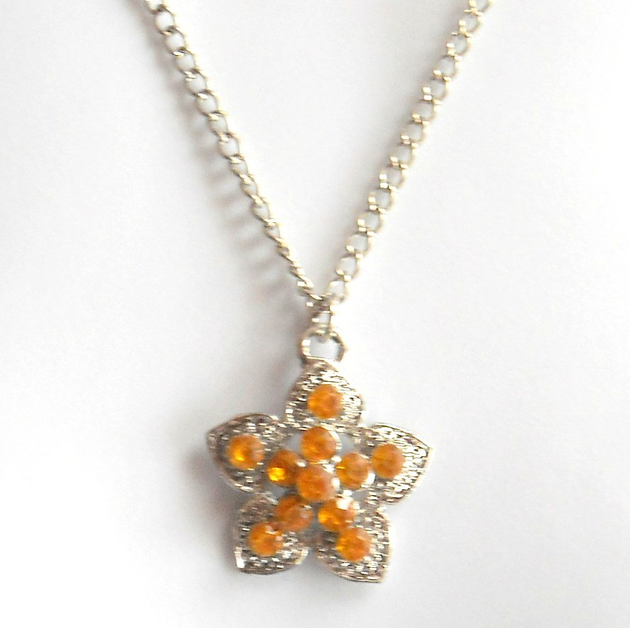 Austrian Crystals Yellow Amber Multi Stone Faceted Flower Fashion Necklace