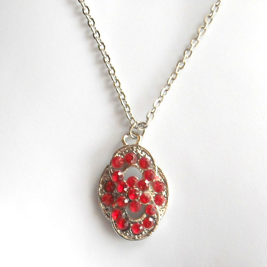 Ruby Red Austrian Crystals Multi Stone Faceted design Fashion Necklace