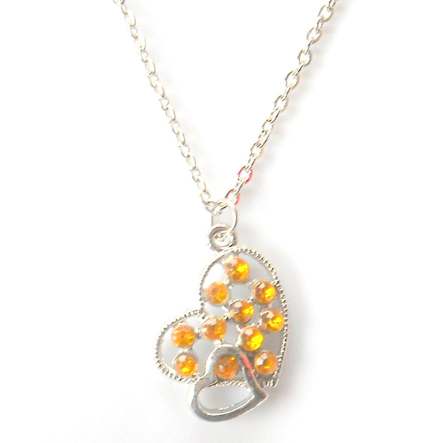 Austrian Crystals Amber Yellow Multi Stone Faceted Double Hearts Fashion Necklace