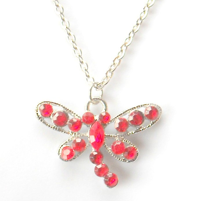 Austrian Crystals Ruby Red Multi Stone Faceted Butterfly Fashion Necklace