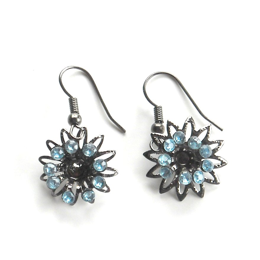 Rhinestone Blue Flower Fashion Earrings