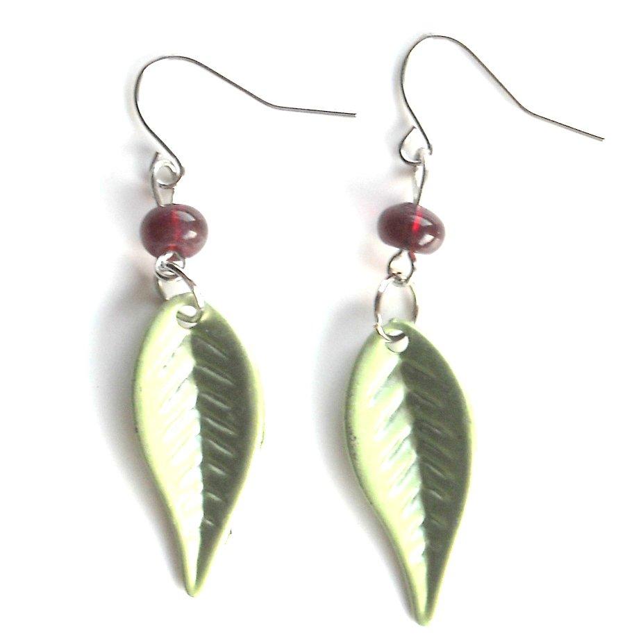 Pistachio Green Color Acrylic Leaves Dangle Fashion Earrings