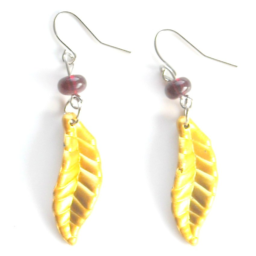 Golden Yellow Color Acrylic Leaves Dangle Fashion Earrings