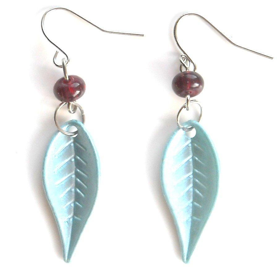 Turquoise Blue Color Acrylic Leaves Dangle Fashion Earrings