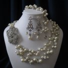 Kate Collection - 2 strand wedding wedding set, pearl necklace, bracelet, and earrings