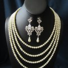 4 strand wedding, bridal necklace and earrings with swarovski pearls, swarovski rhinestones